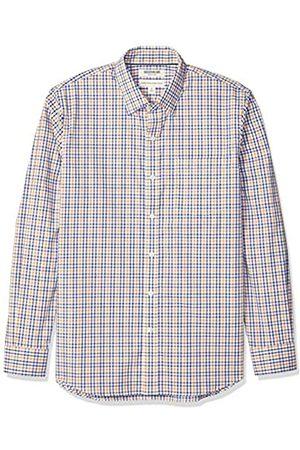 Goodthreads Amazon-Marke: Herrenhemd, langärmlig, normale Passform, Komfort-Stretch, pflegeleicht, aus Popeline, Blue Yellow Multi Check