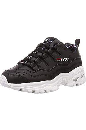 Skechers Damen Energy-Retro Vision Sneaker, (Black Leather/Red & White Trim BKW)