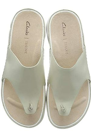 Clarks Damen Tri Toe Post Zehentrenner, (White Leather White Leather)