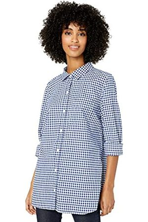 Goodthreads Solid Brushed Twill Long-Sleeve Button-Front dress-shirts, Navy/White Gingham