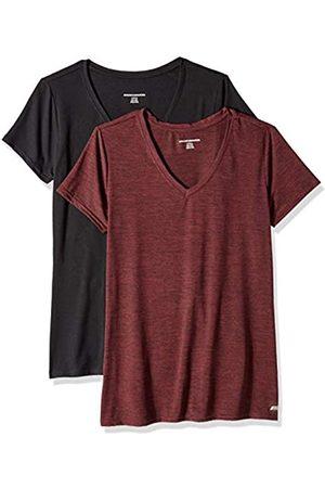 Amazon 2-Pack Tech Stretch Short-Sleeve V-Neck T Athletic-Shirts, Burgundy Space Dye/Black