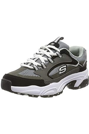 Skechers Boys' Stamina-Cutback Trainers, Grey (Charcoal & Black Leather/Charcoal & Black Trim Ccbk)