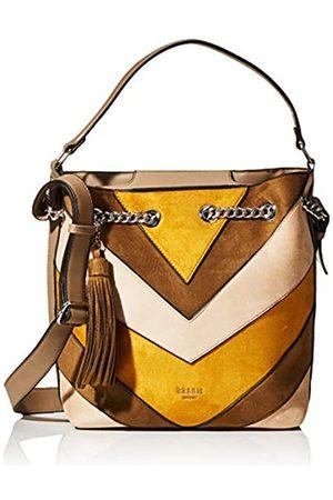 Bessie London Damen Suede Ring Chained Tassel Colour Block Shopper Schultertasche