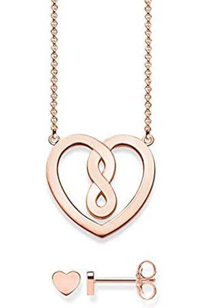 Thomas Sabo Damen-Halskette Herz mit Ohrring 925 Sterling Silber rosé 42 cm Schmuckverpackung SET0558-415-40-L42v