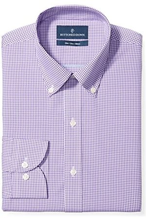 Buttoned Down Slim Fit Button Collar Pattern Smoking Hemd, purple small gingham