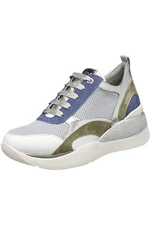 Stonefly Damen Elettra 8 Nappa/Textile/Goat Suede Sneaker, (White/STELLAR Blue 66Z)