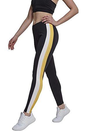 Urban classics Damen Side Stripe Leggings, per pack Mehrfarbig (Black/White/Chromeyellow 01302)