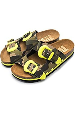 THE WHITE BRAND Damen Buckle Camo Peeptoe Sandalen, (Neon Yellow Neon Yellow)