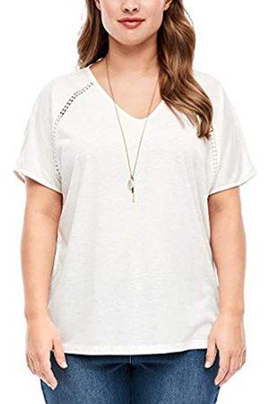 s.Oliver Damen T-Shirt mit Glitzer-Effekt offwhite 54