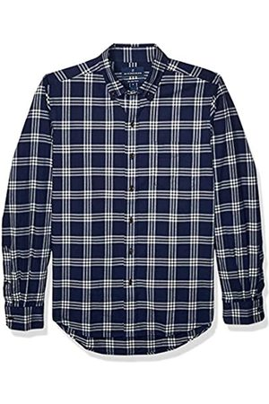Buttoned Down Slim Fit Supima Cotton Brushed Twill Plaid Sport button-down-shirts, Navy/White