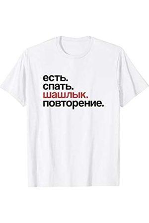 Lustige Russland Motive Eat Sleep Schaschlik Repeat in Kyrillisch Russisch T-Shirt