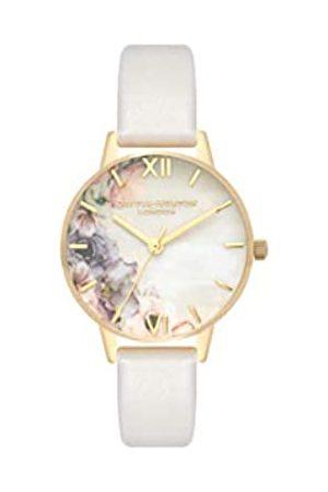 Olivia Burton Damen Analog Japanisch Quarz Uhr mit Echtes Leder Armband OB16PP45