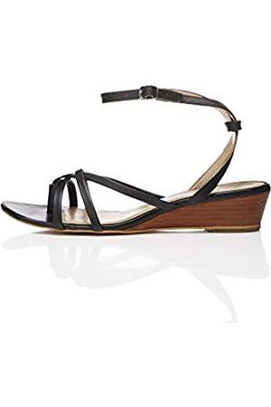 FIND Asymetric Toe Thong Wedge Peeptoe Sandalen, (Black)
