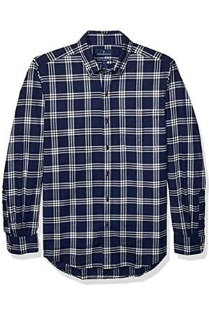 Buttoned Down Tailored Fit Supima Cotton Brushed Twill Plaid Sport button-down-shirts, Navy/White