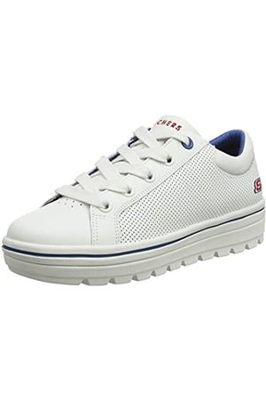 Skechers Women's STREET CLEAT-FRESHEST Trainers, White (White Leather/Duraleather Trim #Yellow Wht)