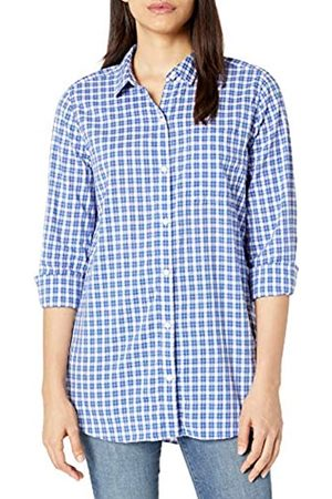 Goodthreads Lightweight Poplin Long-Sleeve Boyfriend dress-shirts, Blue/ /White Plaid