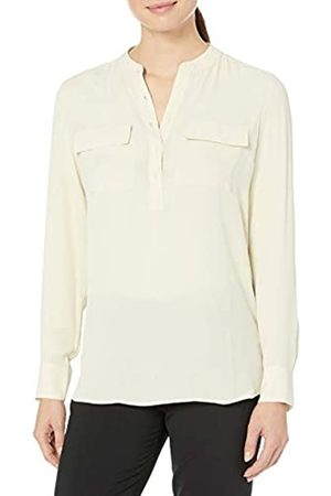 Lark & Ro Long Sleeve Sheer Utility Woven Top with Band Collar tunic-shirts