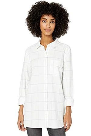 Goodthreads Washed Oxford Long-Sleeve Button-Front dress-shirts, White/Blue Open Windowpane