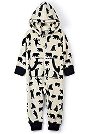 Hatley Damen Hooded Fuzzy Fleece Bear Family Jumpuits Einteiliger Schlafanzug, Wei (Kids Jumpsuit-Black Bears On Natural)