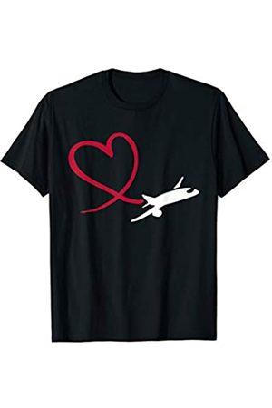 Flugzeug Geschenke Flugzeug mit Herz T-Shirt