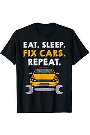 Das Kulissenwerk Eat Sleep Fix Cars Repeat Auto Liebhaber KFZ Mechaniker T-Shirt