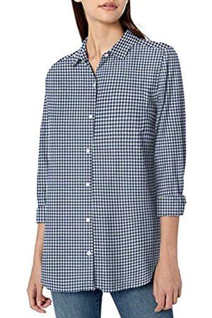 Goodthreads Solid Brushed Twill Long-Sleeve Boyfriend dress-shirts, Navy/White Gingham