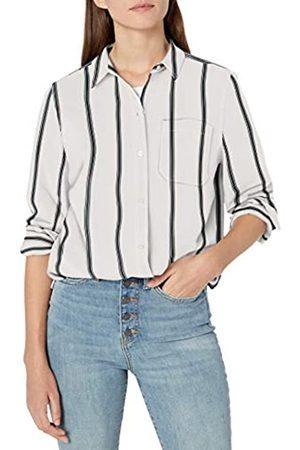 Goodthreads Lightweight Twill Long-Sleeve Boyfriend button-down-shirts, Off-white/Asphalt Stripe