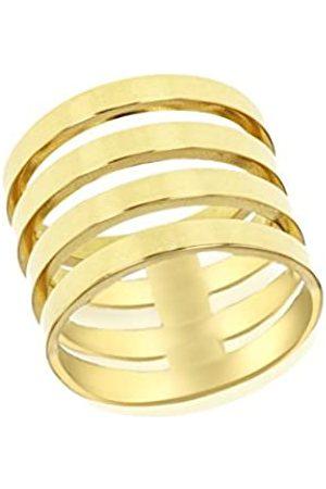 Tuscany Silver Damen Sterling plattiert Band Ring Gelbgold 4mm P