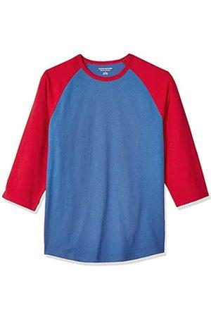 Amazon Herren-Baseball-T-Shirt, Regular-Fit, 3/4-Ärmel, Blue/Red