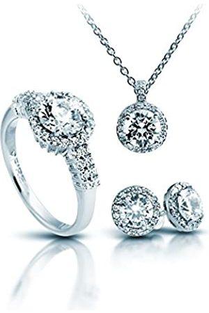 DIAMONFIRE Damen-Schmuckset Halskette + Ohrringe + Ring Classic 4teiliges Set 925 rhodiniert Zirkonia Brillantschliff weiß - 13/1269/1/917