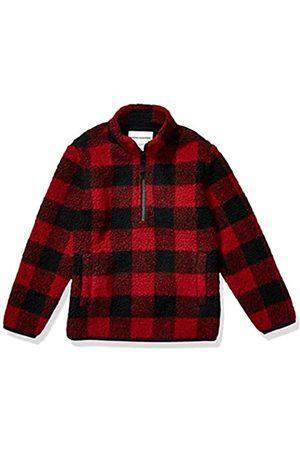 Amazon Quarter-Zip High-Pile Polar Fleece outerwear-jackets, Exploded Red Buffalo Check