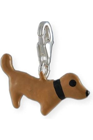 Melina Damen-Charm Anhänger Dackel Hund Emaille 925 Sterling Silber 1800555