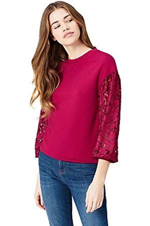 FIND Sweatshirt Damen mit Ärmeln aus halbtransparenter Spitze, rundem Ausschnitt und elastischen Bündchen