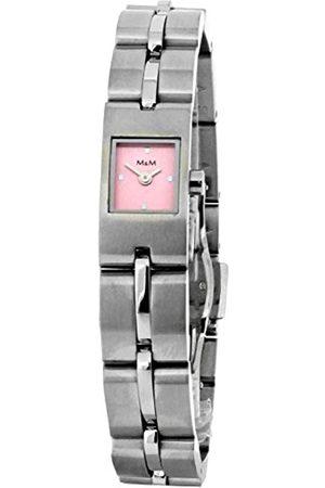 M&M Damen Uhren - Damen-Armbanduhr Analog Quarz Edelstahl M15452-128