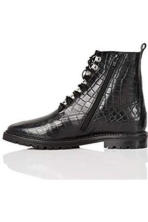 FIND Amazon-Marke: Lace up Leather Croc Biker Stiefeletten, Black)