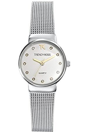 Trendy Kiss Damen Uhren - Damen-Armbanduhr, Quarz, analog, silberfarbenes Zifferblatt, graues Metall-Armband
