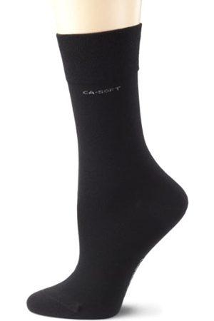 Camano Unisex 2er Pack einfarbige Socken mit verstärkten Zehen und Fersen Damen & Herren Strümpfe (black 05)