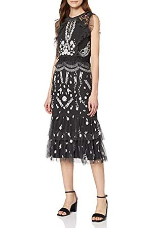 Frock and Frill Damen Jessica Sleeveless Embroidered Fringed Mini Dress cocktailkleid
