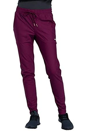 CHEROKEE Mid-Rise Tapered Leg Drawstring Pant' Wine Medium Tall