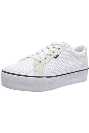 Tommy Hilfiger Damen WMN Textile City Sneaker, (White/Ice 100)