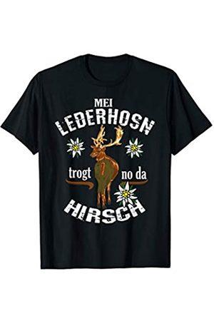 Lustige Oktoberfest und Boarisch Echte Outfits Oktoberfest Lederhose Ersatz Tracht Hirsch lustiger Spruch T-Shirt