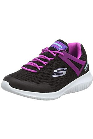 Skechers Girls' Ultra Flex Rainy Daze Trainers, Black (Black Mesh/Hot Pink Trim BKHP)