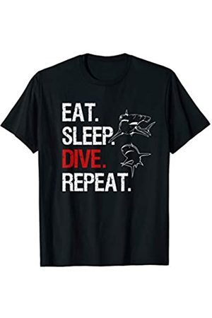 Weltmeere Bilder Diving Center Unterwasser Outfit EAT SLEEP DIVE REPEAT GERÄTETAUCHEN APNOE TAUCHER HAMMERHAI T-Shirt