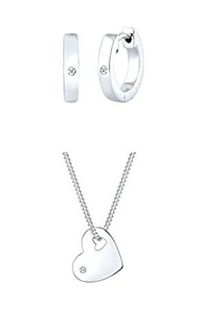 DIAMORE Schmuckset Damen Herz Halskette und Creolen mit Diamant (0.06 ct.) aus 925 Sterling