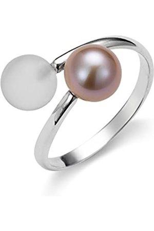 ADRIANA Damen-Ring Gelato 925 Silber rhodiniert Kristall weiß Süßwasser-Zuchtperle Gr. 56 (17.8) größenverstellbar - AGR6-Gr.56