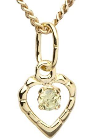 InCollections Damen-Anhänger 333/000 Gold mit Zirkonia limette inklusive Panzerkette verstellbar Herz 36 - 38 cm 7330100007401