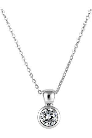 Burgmeister Damen-Halskette mit Anhänger 925/-Sterling Silber rhodiniert, Ankerkette 45cm lang