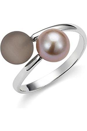 ADRIANA Damen-Ring Gelato 925 Silber rhodiniert Quarz braun Süßwasser-Zuchtperle Gr. 54 (17.2) größenverstellbar - AGR8-Gr.54