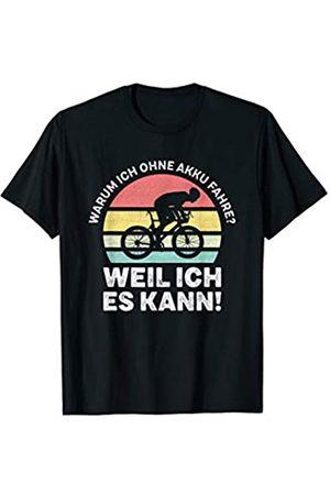 Vintage Rennrad Radsport Geschenke Warum Ich Ohne Akku Fahre Weil Ich Es Kann Spruch T-Shirt