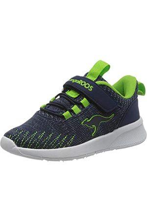 KangaROOS Unisex-Kinder KF Tie EV Sneaker, (Dk Navy/Lime 4054)
